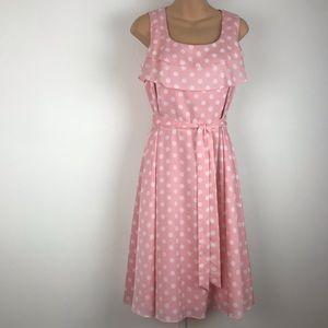 ALEX MARIE pink white polka dot midi dress 🍵